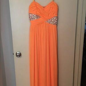 Orange prom dress with silver gems